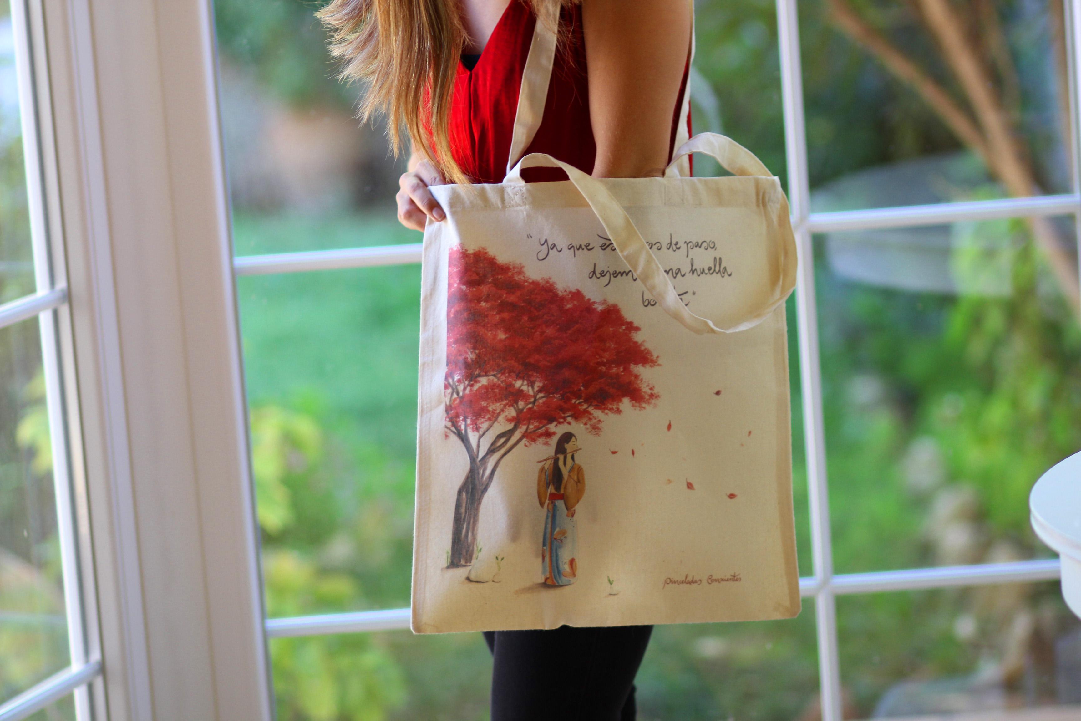 bolsa árbol rojo
